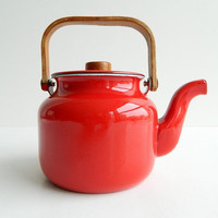 Danish Modern red enamel tea kettle
