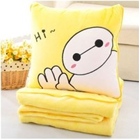39.3*63 Inches Soft Gray Big Hero 6 Baymax Throw Pillow & Blanket 2 in 1 (Yellow Hi)