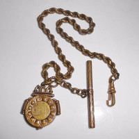 Antique Watch Fob Chain Gold Filled Etched Snuff Box Locket Hidden Pencil T-Bar