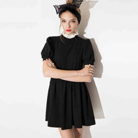 Black High Neck Balloon-Sleeve Dress
