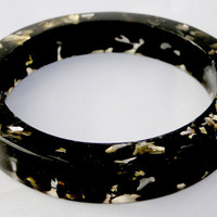 Black and Gold Leaf Resin Bangle Resin Bangle Funky Jewelry Modern Resin Jewelry