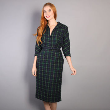 50s Tartan PLAID Wool Wiggle DRESS / Navy & Green, Curly BOUCLE Detail, xs - s