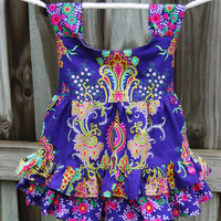 Crazy Love Girls Ruffled Top Size 3T to 4T Tie Back Handmade Featuring Jennifer Paganelli's Crazy Love Fabric Collection Ready to Ship