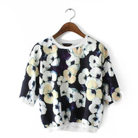 Black Floral Print Sleeve Blouse