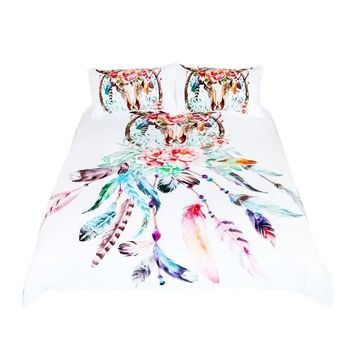 Bedding Set Buffalo Skull with Feathers Bed Cover Dreamcatcher Southwestern Boho Chic Colorful Tribal Duvet Cover