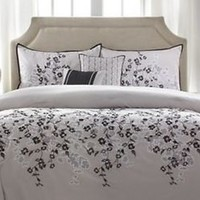 Gray Full Queen Comforter Set Decorative Pillows Shams Embroidered Floral Modern