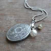 "Edelweiss 2 """" Antique silver locket"