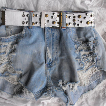 Destroyed Hollister Tumblr inspired hipster shorts with Lace
