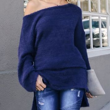 New Navy Blue Cut Out Side Slit Round Neck Long Sleeve Casual Sweater