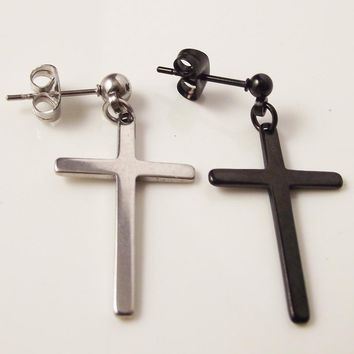 2 pieces Black Silver Punk Rock Post Stainless Steel Cross Stud Earring Men Body Piercing Jewelry