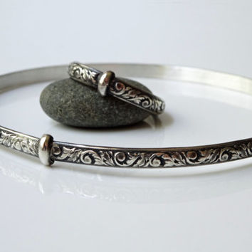 Scottish Thistle Key Bangle Bracelet - Solid Sterling Silver - Oxidized & Textured - Stackable - Celtic - Sassnach - Blood of my Blood