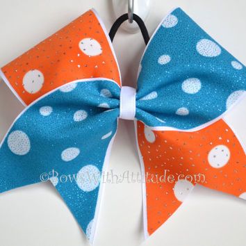 "3"" Wide Luxury Cheer Bow - Aqua / Orange Polka Dot Flip Flop"