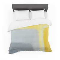 "CarolLynn Tice ""Inspired"" Grey Yellow Featherweight Duvet Cover"