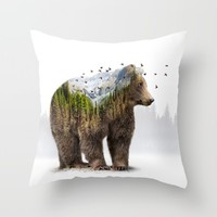 Wild I Shall Stay | Bear Throw Pillow by Soaring Anchor Designs | Society6