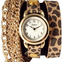 Triple Chain Wrap Watch-Cheetah Print