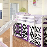 Alexis Kids Loft Bed with Slide and Purple Zebra Tent
