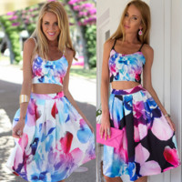 Sleeveless condole belt big flower skirt two-piece outfit
