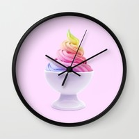 RAINBOW ICE CREAM Wall Clock by Paul Fuentes