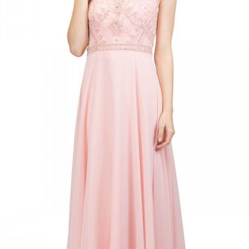 Blush Beaded Long Formal Dress with Scoop Neckline