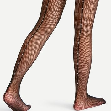 Rhinestone Seam Fishnet Tights