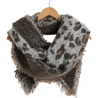 Brown and White Leopard Print Scarf