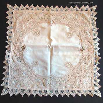 Vintage Handmade Cutouts Cushion Cover, Pillow Case, Ecru and Cream