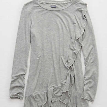 Aerie Ruffled Legging Tee, Heather Gray