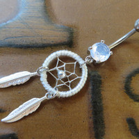 White Thread Dream Catcher Belly Button Ring- Silver Feather Dreamcatcher Opal Charm Dangle Navel Piercing Body Jewelry