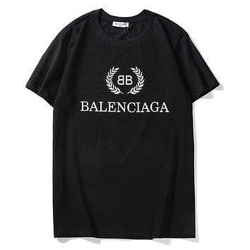 Balenciaga fashion casual couple t-shirts are hot sellers with monogrammed print short-sleeved tops Black