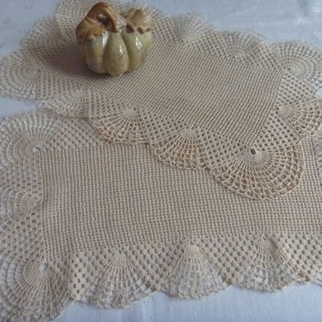 Cream/Beige Table Dollies Doily Home Decor | Set Two Crocheted Rectangles