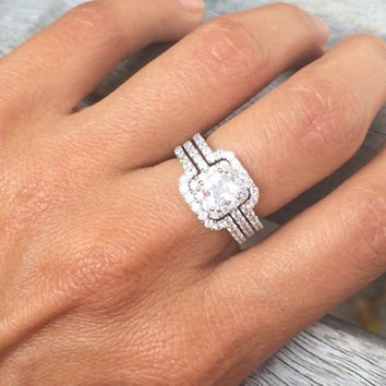 Princess Cut Center Stone Cubic Zirconia Silver Triple Band Engagement Ring & Wedding Band
