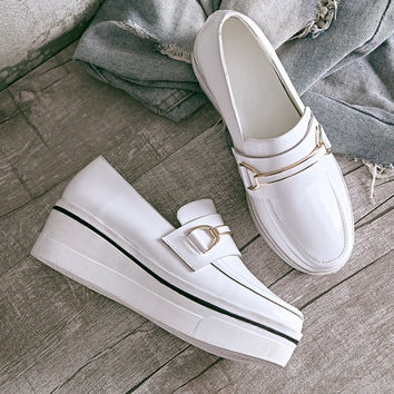 Shoes Thick Crust Leather Flats Korean Vans Platform Shoes [4920566404]