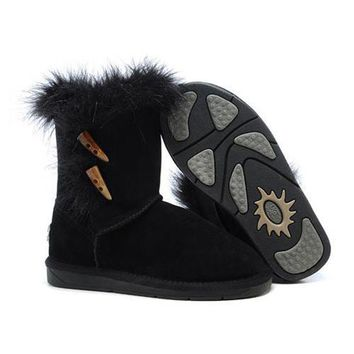 Ugg Boots Cyber Monday Fox Fur 5685 Black For Women 94 09