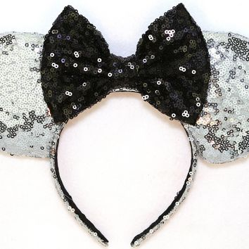 Silver Sequin Ears and Black Bow