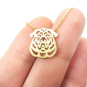 Pug Puppy Dog Face Cut Out Shaped Pendant Necklace in Gold | Animal Jewelry