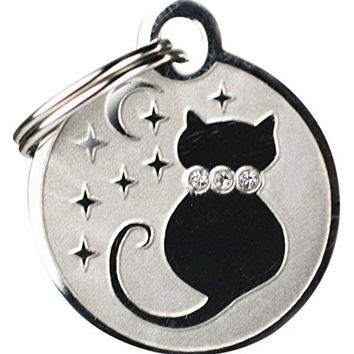 Swarovski Crystal Pet Id Tags for Dogs & Cats. Personalized, Custom Engraved with 4 Lines of Text. Stylish & Fun for Every Pet!