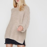 Light brown cable knit balloon sleeve sweater - Sweaters - Knitwear - women