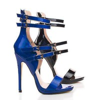 Isabella01 By Wild Rose, Open Toe Multi Buckle Strap Stiletto Heel Pumps