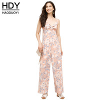HDY haoduoyi 2016 New Fashion Women Jumpsuit Sexy Holiday Pink Floral Printing Sleeveless Spaghetti Strap Jumpsuit for Women