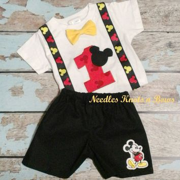 Boys Mickey Mouse Birtlhday Outfit, Boys First Birthday Outfit, Mickey Birthday
