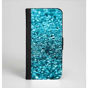 The Turquoise Glimmer Ink-Fuzed Leather Folding Wallet Case for the iPhone 6/6s, 6/6s Plus, 5/5s and 5c