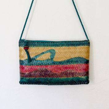 Vintage Waves Tropical / Boho Woven Straw Crossbody Purse / Painted Shoulder Bag