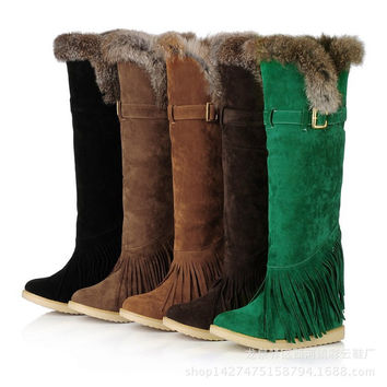Round Head Suede Chunky Heel High Boots