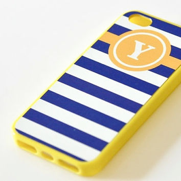 Nautical Monogram iPhone Case - Yellow & Navy Stripes