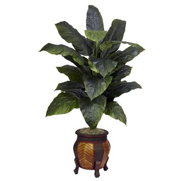 Silk Flowers -Giant Spathyfillum With Decorative Vase Artificial Plant