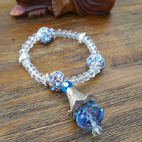Glam Collection - One of a kind Silver Tone Blue Crystal Charm/Blue Mixed Beaded Bracelet Hand Made
