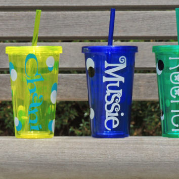 personalized water cup, cup with straw, water tumbler, assorted colors tumbler, wedding favor, party favor, bachelorette party gift, acrylic