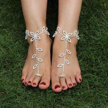Barefoot beach sandals Bridal/wedding diamante anklet foot jewellery 0100 (Color: Whit