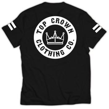 Top Crown Clothing Classic T-Shirt Graphic Tee Streetwear Fashion - Black