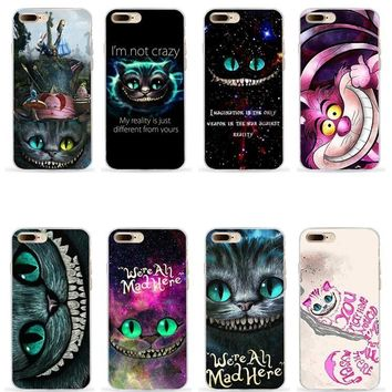 Alice in wonderland cheshire cat soft silicone mobile phone case for iphone 5s se 6 6s 6splus 7 7plus 8 8plus X XR XS MAX